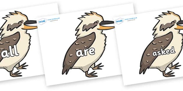 Tricky Words on Kookaburras - Tricky words, DfES Letters and Sounds, Letters and sounds, display, words
