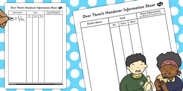 Over Threes Handover Information Sheet - handover, information