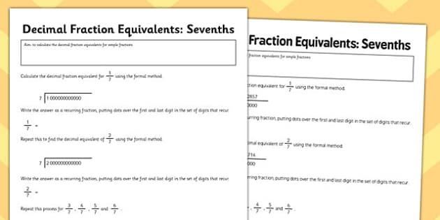 Year 6 Decimal Equivalents Sevenths Activity Sheet - Key Stage 2, KS2, Maths, Decimals, worksheet