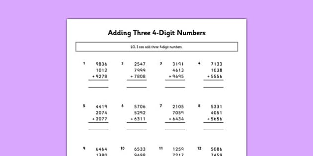 Adding Three 4 Digit Numbers - adding, three, 4 digit, numbers, maths, numeracy