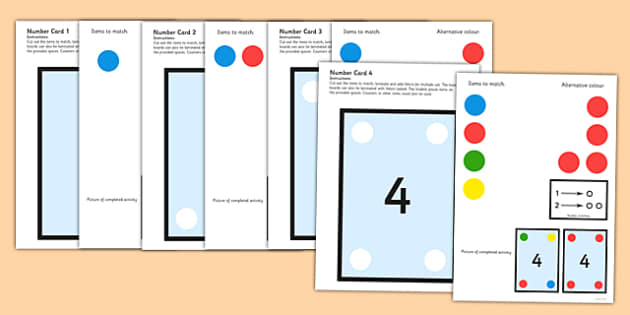 Workstation Pack 1-10 Number Matching Cards - teacch