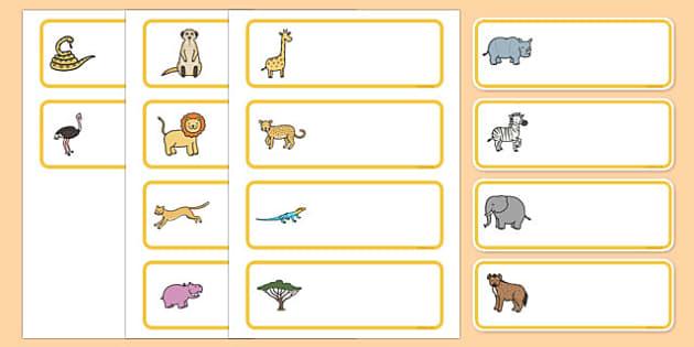 Editable Drawer - Peg - Name Labels (Safari) - Safari animal themed Label Templates, safari, animal, Resource Labels, Name Labels, Editable Labels, Drawer Labels, Coat Peg Labels, Peg Label, KS1 Labels, Foundation Labels, Foundation Stage Labels,