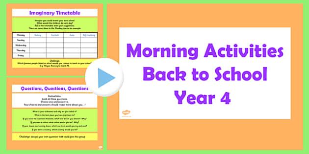 Year 4 Back to School Morning Activities PowerPoint 1 Week - year 4, back to school, morning, activities