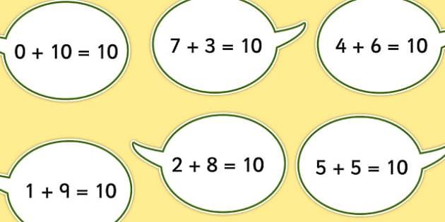 Number Bonds to Ten on Speech Bubbles - displays, numbers, bonds