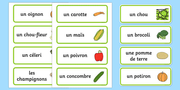 Vegetable Word Cards French - french, vegetable, word cards, flash cards, cards, francais, potato, tomato