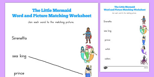 The Little Mermaid Word and Picture Match - australia, little mermaid