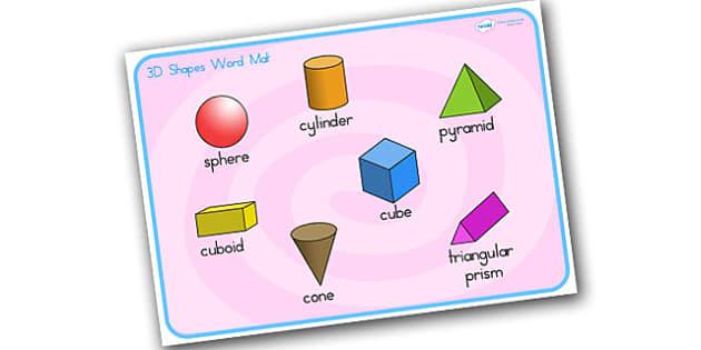 3D Shape Word Mat Stick and Ball - 3D, shapes, word mat, keywords
