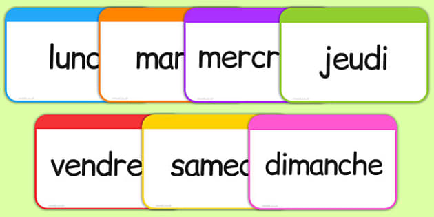 Les jours de la semaine Flashcards French - french, days, week, days of the week, flashcards, flash cards