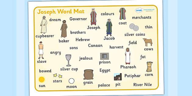 Joseph Word Mat - Joseph, coat, Jacob, bible story, bible, slave, brothers, word mat, writing aid, mat, cupbearer, pharao, prison, cows, corn, dreams, Palace, Egypt, fat, thin