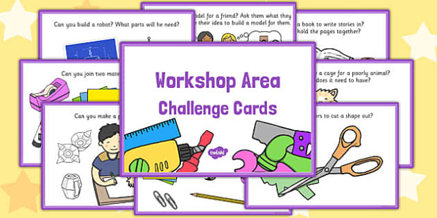 Workshop Area Challenge Cards - challenge, cards, workshop