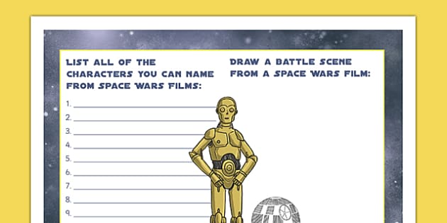 Space Wars Party Placemat - Space Battle, Death Star, Star wars characters, space wars