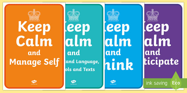 New Zealand Key Competencies Keep Calm Display Posters