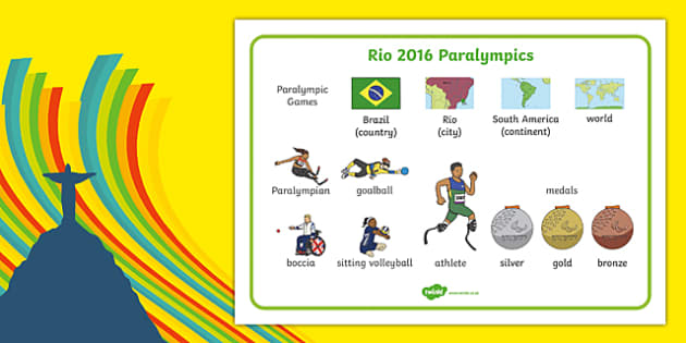 Rio Paralympics 2016 SEN Word Mat