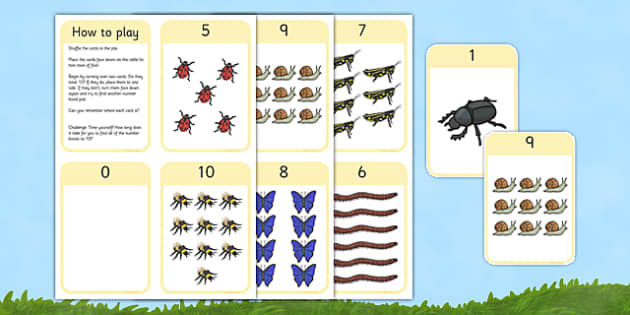 Minibeast Number Bonds to 10 Matching Cards