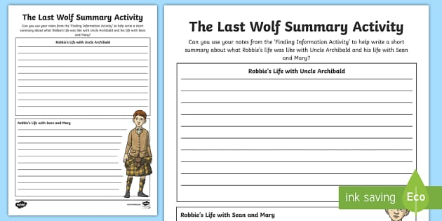 Summary Activity to Support Teaching on The Last Wolf - CfE, novel study, Michael Morpurgo, The Last Wolf, reading activity,summary writing,comprehension, L
