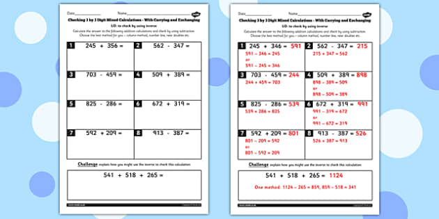 Y3 Inverse Check 3 Digit Mixed With Carrying Exchanging Worksheet