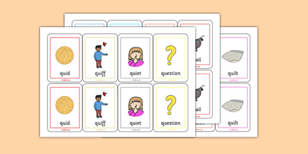 QU Sound Playing Cards - speech sounds, phonology, articulation, speech therapy, cluster reduction