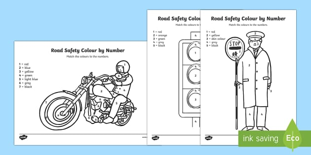 Road Safety Colour by Number