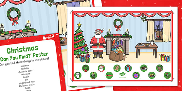 Christmas Can You Find Poster and Prompt Card Pack - christmas, find, poster, prompt, card, pack