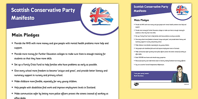 Scottish Elections 2016 Scottish Conservative Party Manifesto Child Friendly - Scottish Elections, Politics, Holyrood 2016, Politicians, voting, electing, main pledges