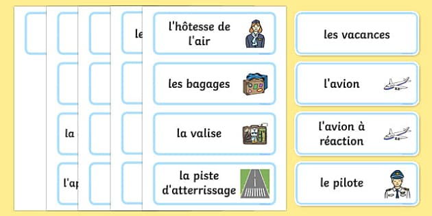 Holiday Travel Topic Words French - french, Holidays, word card, flashcards, labels, holiday, travel, role play, display poster, poster, sign, holidays, agent, booking, plane, flight, hotel