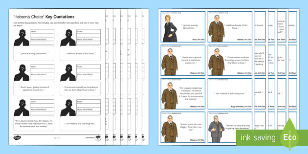 Hobson's Choice Key Quotations Pack - Hobson's Choice, quotations, hobson