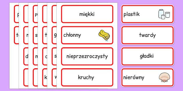Karty ze słownictwem Materiały po polsku - technika