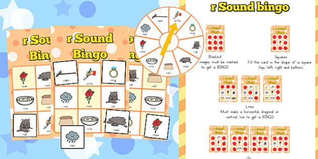 r Sound Bingo Game with Spinner - australia, r sound, bingo game, spinner