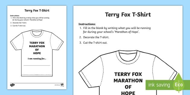 Terry Fox T-Shirt Craft - Terry Fox, canada, canadian, hero, cancer, run, walk, marathon, tshirt, hope, Marathon of Hope