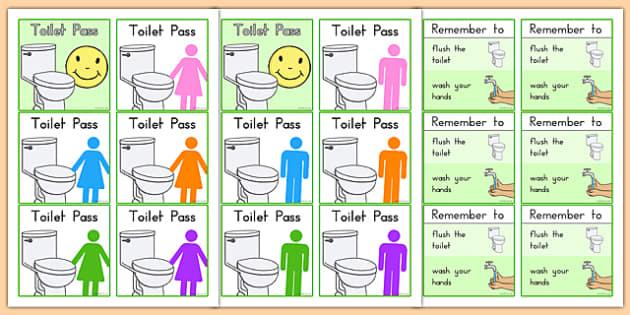 Toilet Passes - toilet, bathroom, classroom management, pass