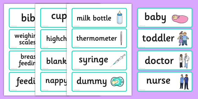 Baby Clinic Role Play Word Cards - Baby Clinic Role Play Pack, baby healthcare, Word cards, Word Card, flashcard, flashcards, vaccinations, prescription, nurse, doctor, syringe, thermometer, role play, display, poster