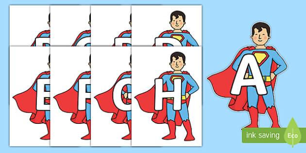 A-Z Alphabet on Superhero - A-Z, A4, display, Alphabet frieze, Display letters, Letter posters, A-Z letters, Alphabet flashcards