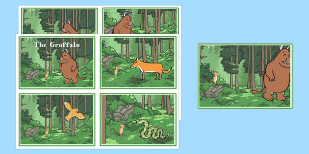 the Gruffalo Story Sequencing Cards 4 Per A4 - gruffalo, story, sequencing, cards
