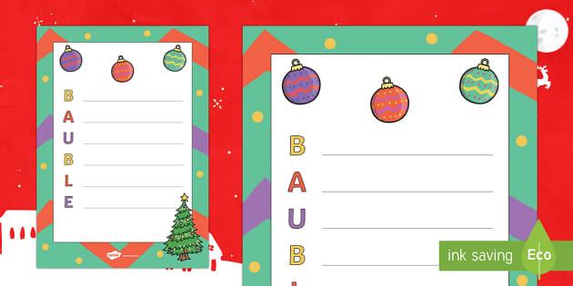 Christmas Bauble Acrostic Poem