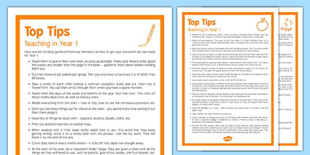 Teaching in Year 1 Top Tips