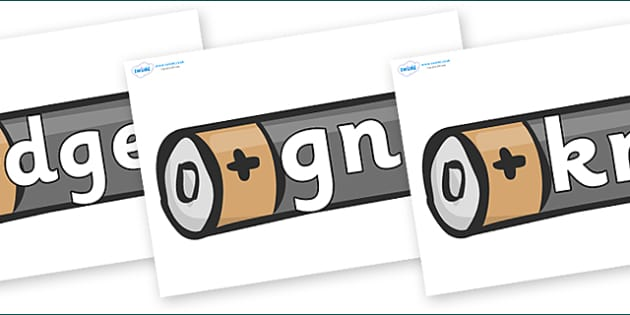 Silent Letters on Battery - Silent Letters, silent letter, letter blend, consonant, consonants, digraph, trigraph, A-Z letters, literacy, alphabet, letters, alternative sounds