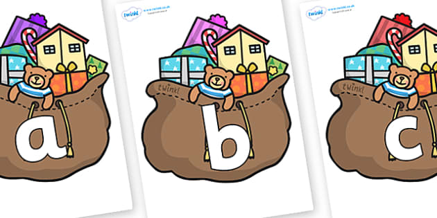 Phoneme Set on Christmas Presents - Phoneme set, phonemes, phoneme, Letters and Sounds, DfES, display, Phase 1, Phase 2, Phase 3, Phase 5, Foundation, Literacy