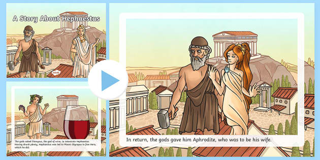 A Story About Hephaestus PowerPoint - Request KS2, Hephaestus, Hera, god, revenge, golden throne, Dionysus, Mount Olympus, Aphrodite.