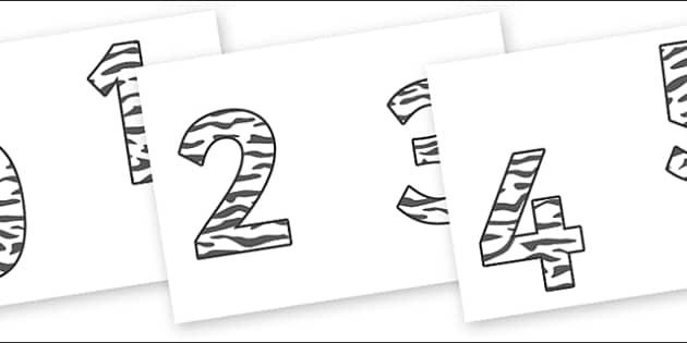 0-9 Display Numbers (Zebra Print) - Display numbers, 0-9, numbers, display numerals, display lettering, display numbers, display, cut out lettering, lettering for display, display numbers