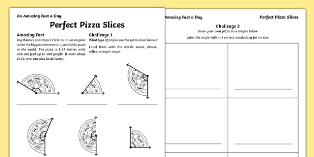 Perfect Pizza Slices Activity Sheet, worksheet