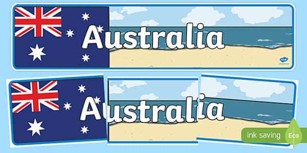 Australia Display Banner - Australia, Australia Day, Display banner, poster, display, kangaroo, wallaby, kookaburra, wombat, crocodile, koala, possum