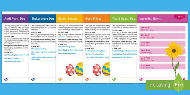 Calendar Planning April 2017 Resource Pack  - Calendar Planning April 2017, Activity Coordinators, Support, Planning, Elderly Care, Care Homes