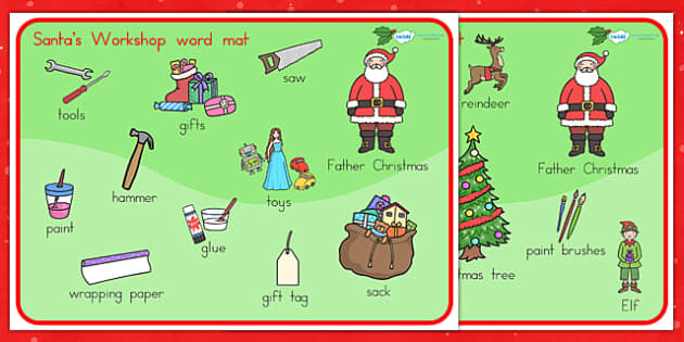 Santas Workshop Word Mat - santa, word mat, keywords, christmas