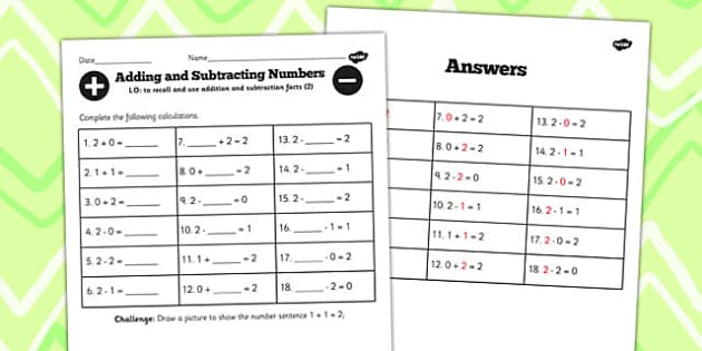 Number Facts to 2 Worksheet - number, facts, worksheet, 2, maths