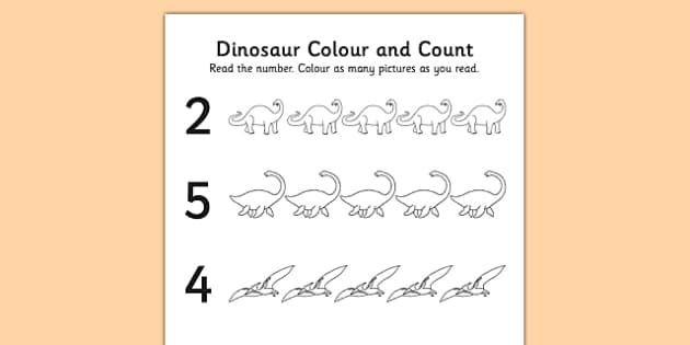 Dinosaurs Themed Count and Colour Sheet - colour, sheet, count