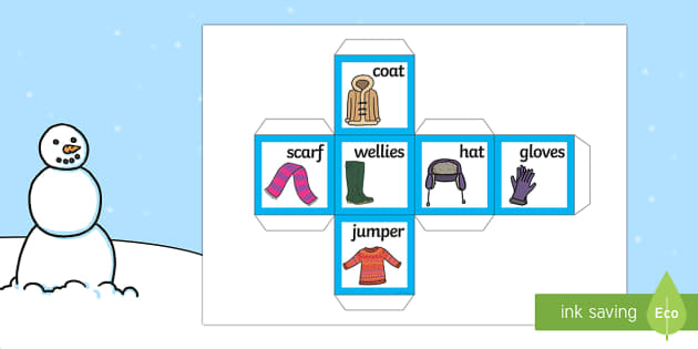 Winter Clothing Words and Pictures Dice