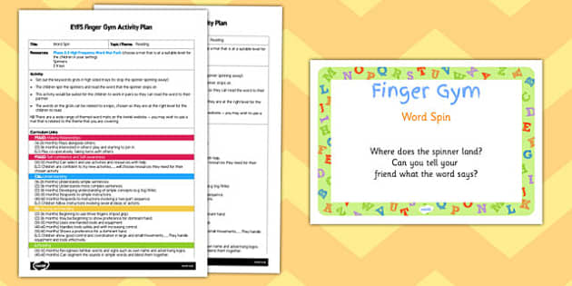 EYFS Word Spin Finger Gym Activity Plan and Prompt Card Pack