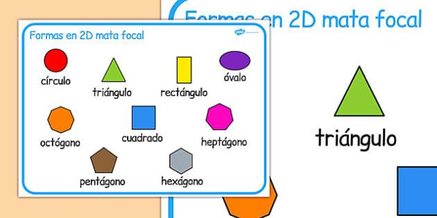 2D Shape Word Mat Spanish - spanish, 2d shape, word mat, word, mat, 2d, shape, maths, numeracy