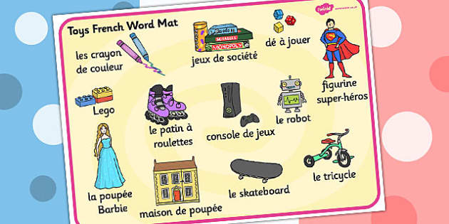 Toys KS1 Word Mat French - toys, french, word, mat, ks1, words