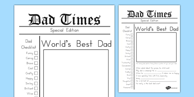 Father's Day Newspaper Card Template - australia, fathers day, newspaper